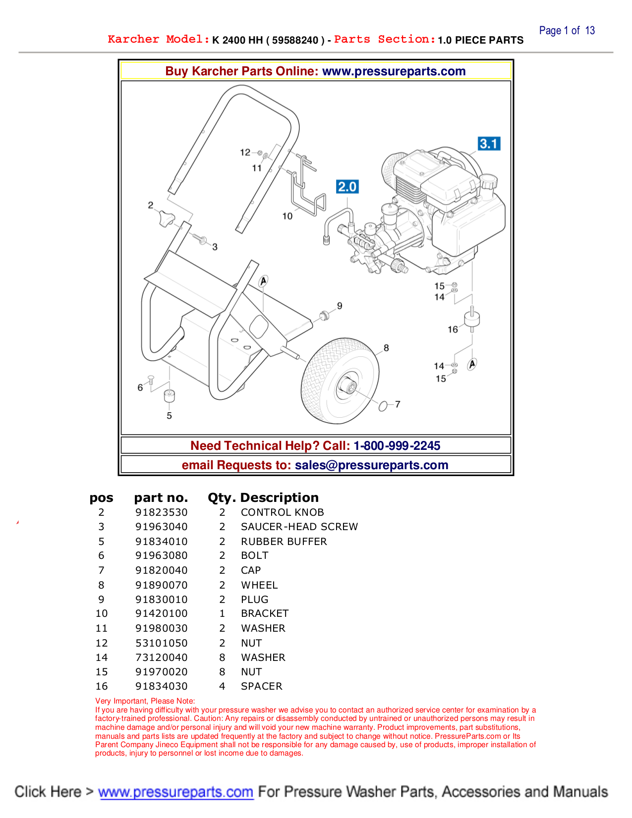 Download Free Pdf For Karcher K 2400 Hh Pressure Washers