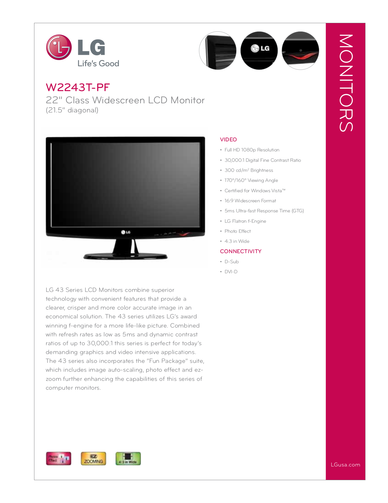 pdf for LG Monitor W2243T manual