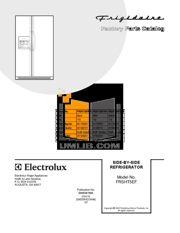 pdf for Frigidaire Refrigerator FRSHT5EFW4 manual