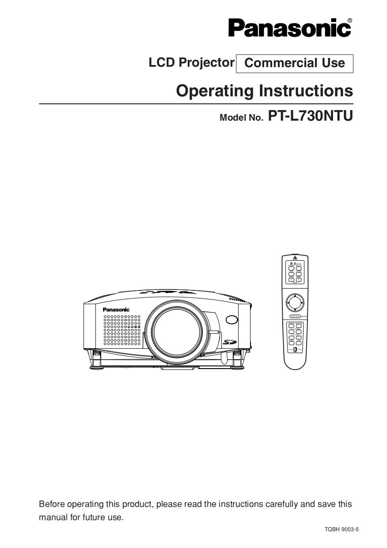 pdf for Panasonic Projector PT-L730NTU manual