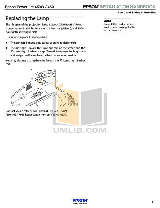 pdf for Epson Projector PowerLite 450W manual