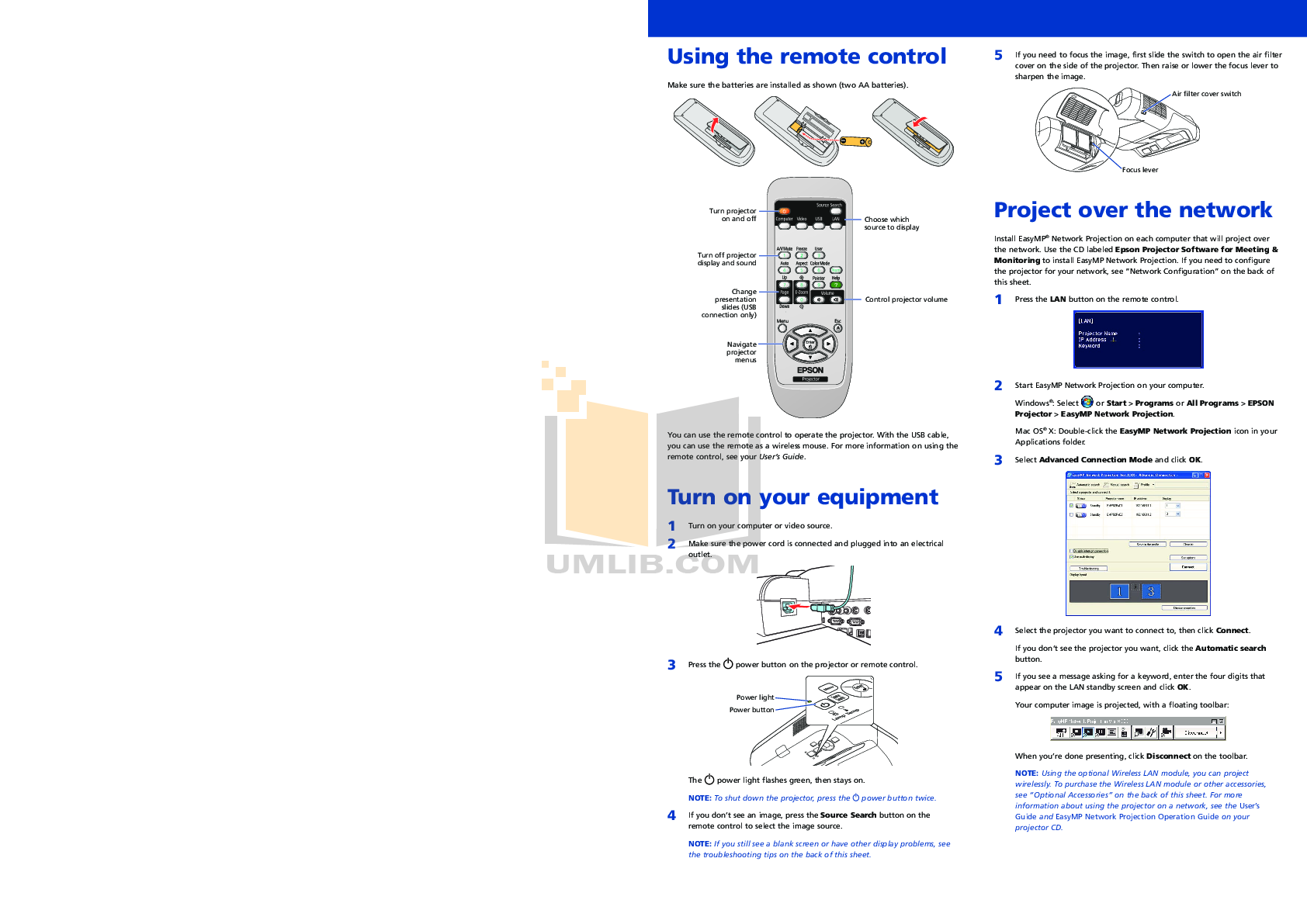 Epson Projector PowerLite 450W pdf page preview