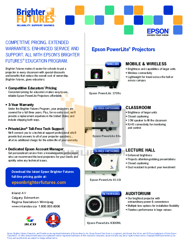 pdf for Epson Projector PowerLite 6110i manual