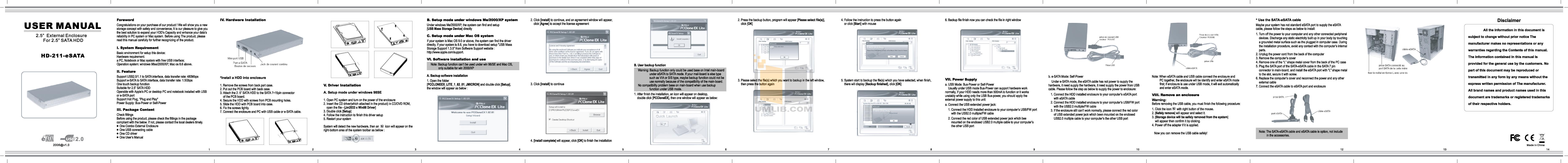 pdf for Coolmax Storage HD-211-eSATA manual