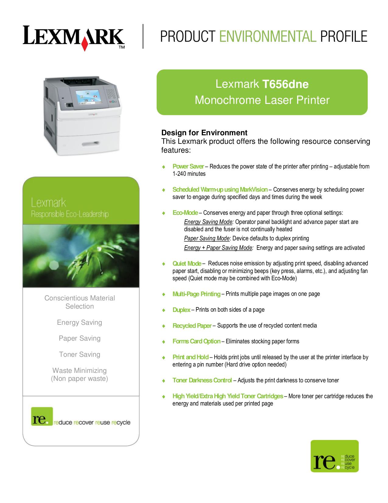 pdf for Lexmark Printer T656DNE manual