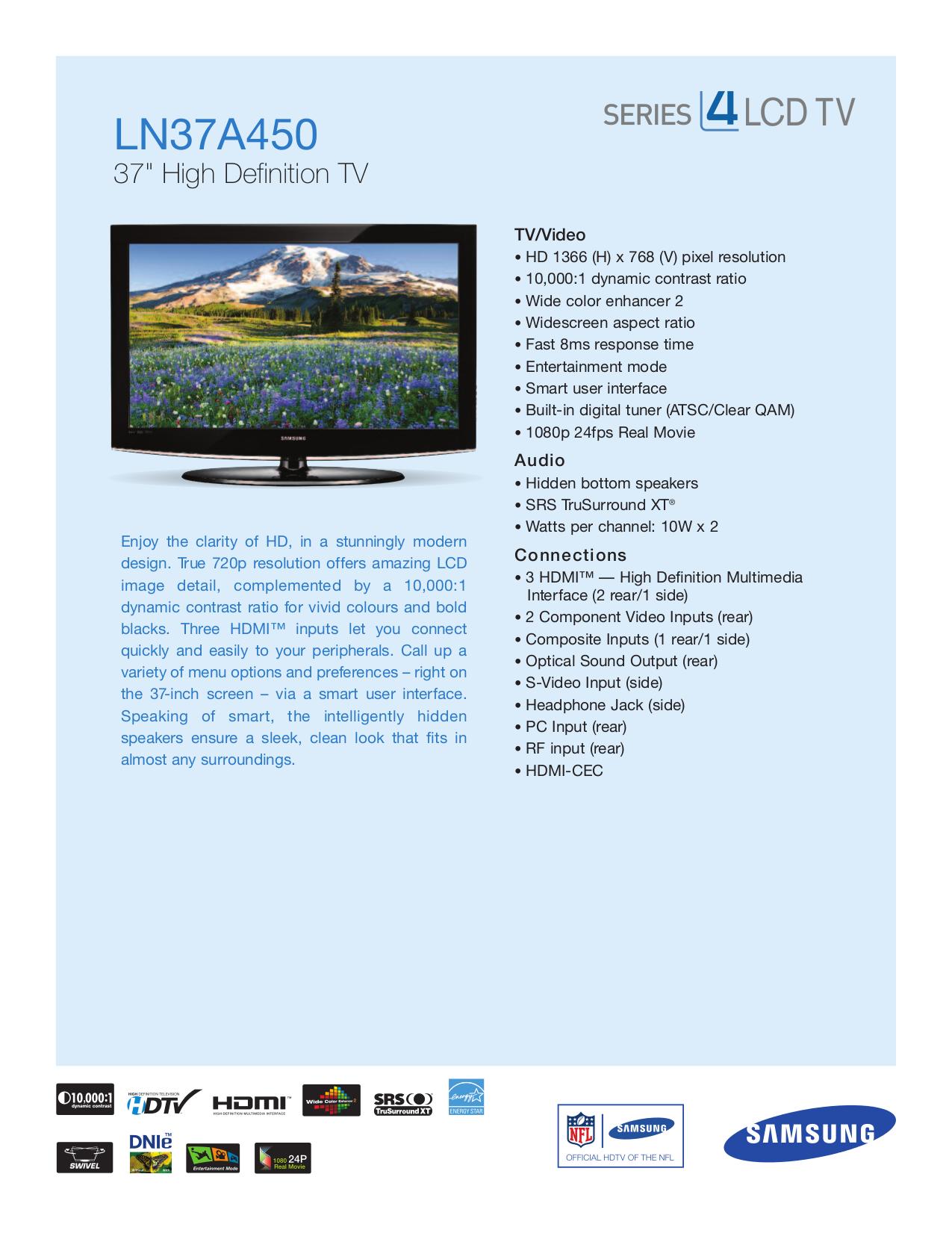 download free pdf for samsung ln37a450 tv manual rh umlib com Samsung Instruction Manual Samsung Owner's Manual