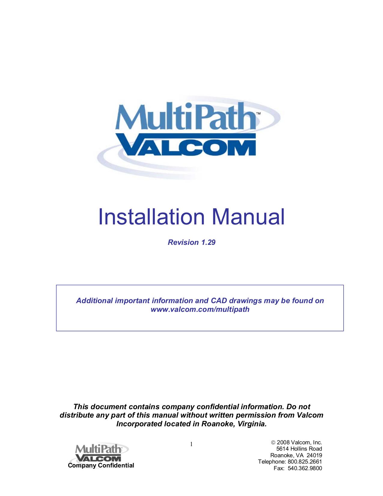 pdf for Valcom Switch V2972 manual