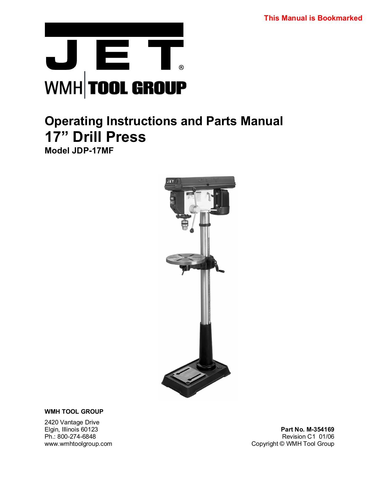 pdf for Jet Other JDP-17MF Drill Press manual