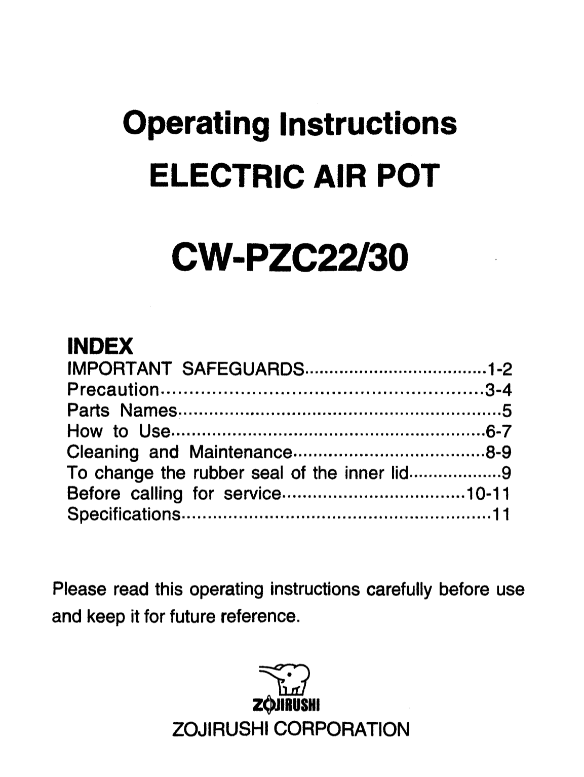 Pdf For Zojirushi Other CW PZC22 Electric Air Pot Manual