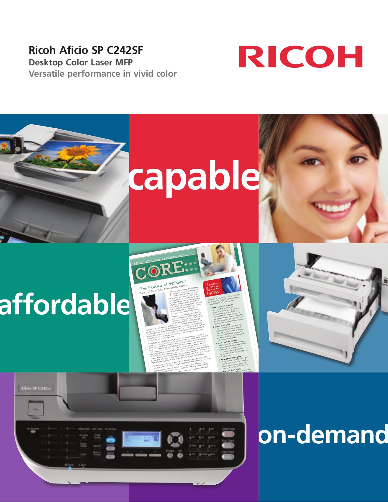 pdf for Ricoh Multifunction Printer Aficio SP C242SF manual