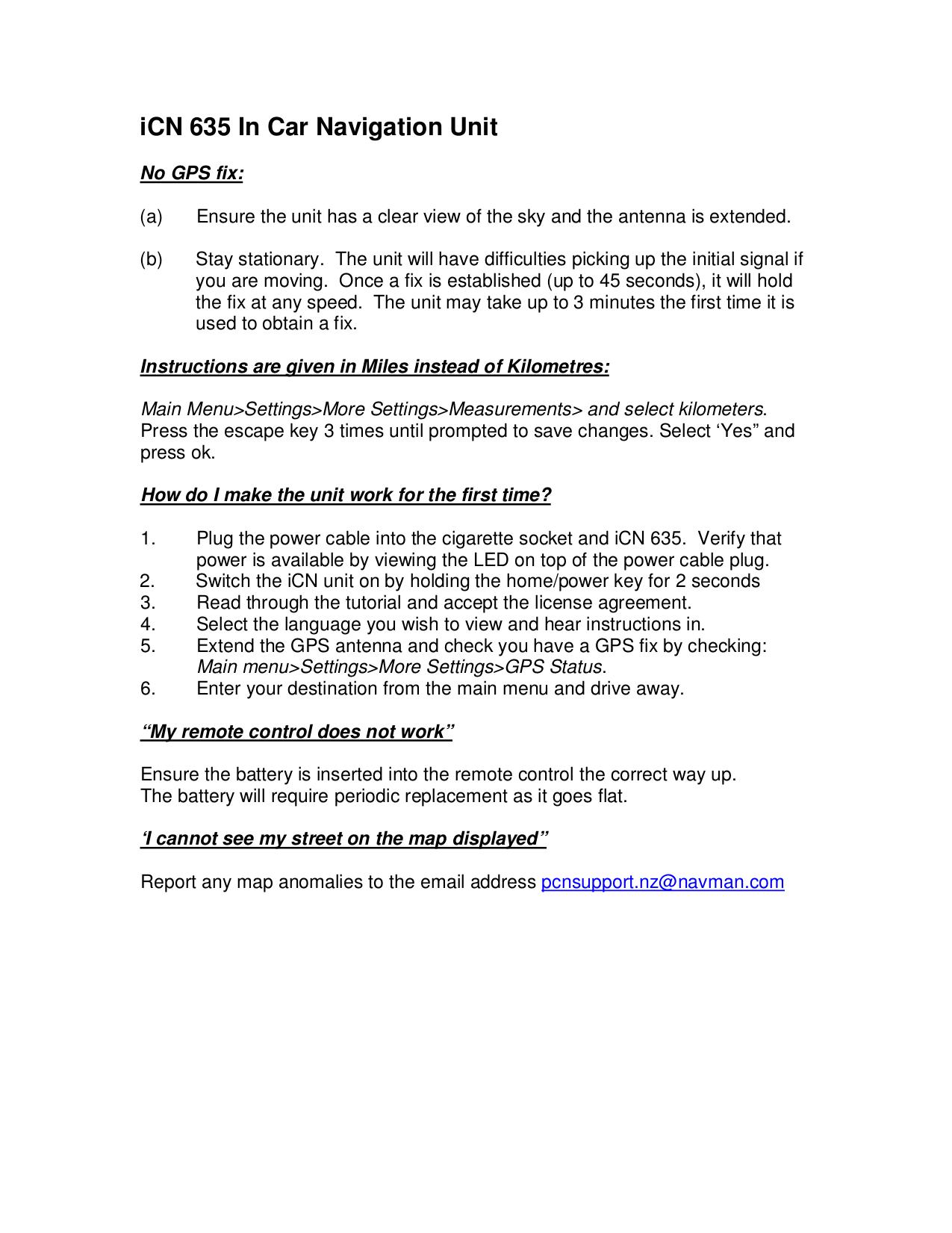pdf for Navman GPS iCN635 manual