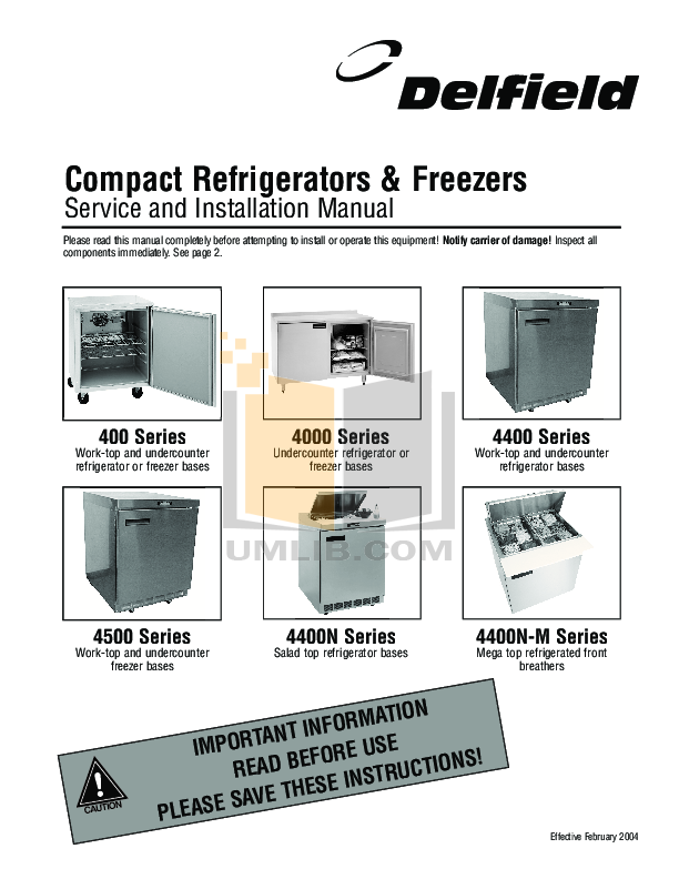 pdf for Delfield Refrigerator UCD4460N manual