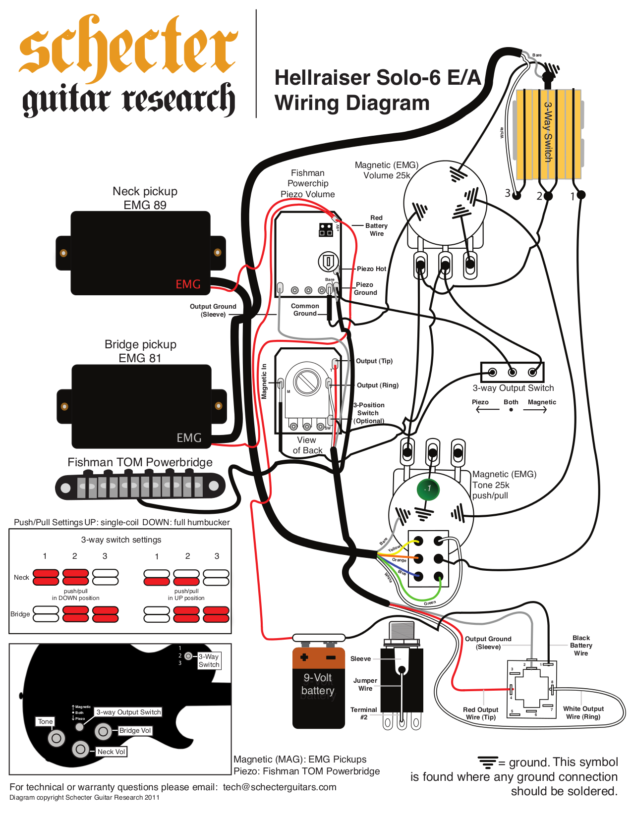 schecter guitars diamond series wiring diagram  schecter
