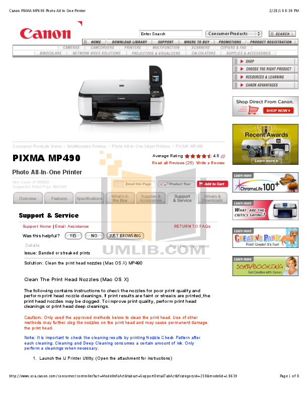 download free pdf for canon pixma mp490 multifunction printer manual rh umlib com canon pixma mp490 manuel canon pixma mp490 manuel