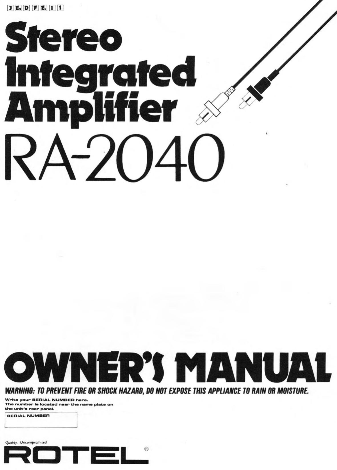pdf for Rotel Amp RA-2040 manual