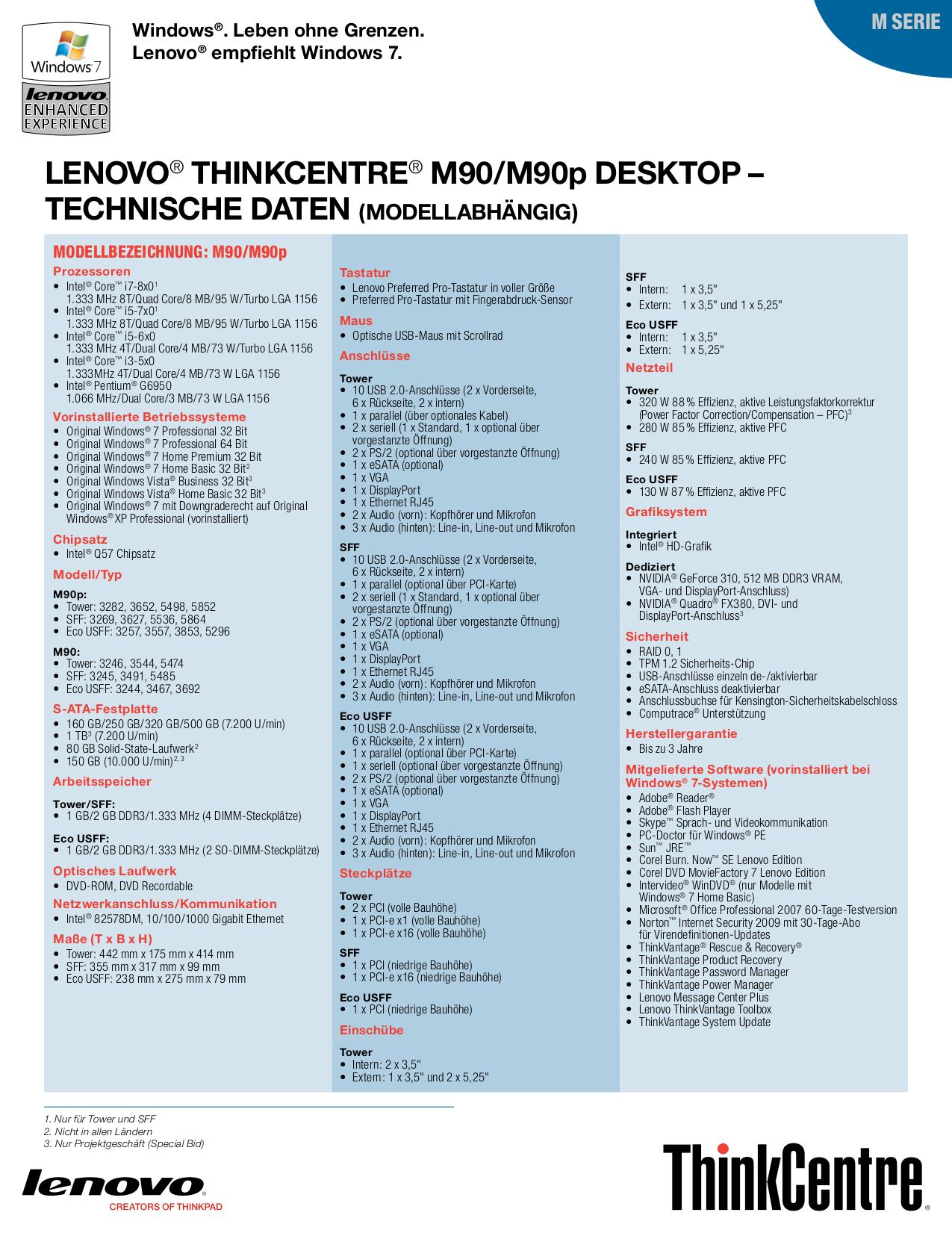 Lenovo Desktop ThinkCentre M90p 3652 pdf page preview