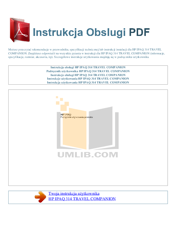 pdf for HP GPS iPAQ 314 manual