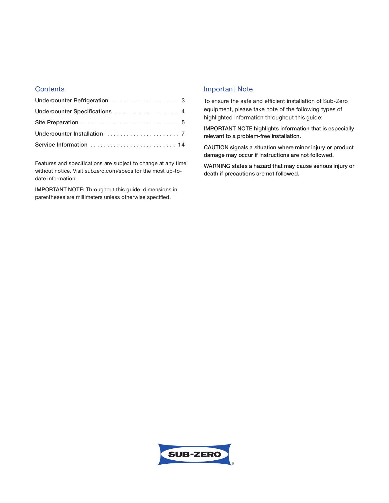 PDF manual for Wolf Refrigerator Sub-Zero UC-24C on