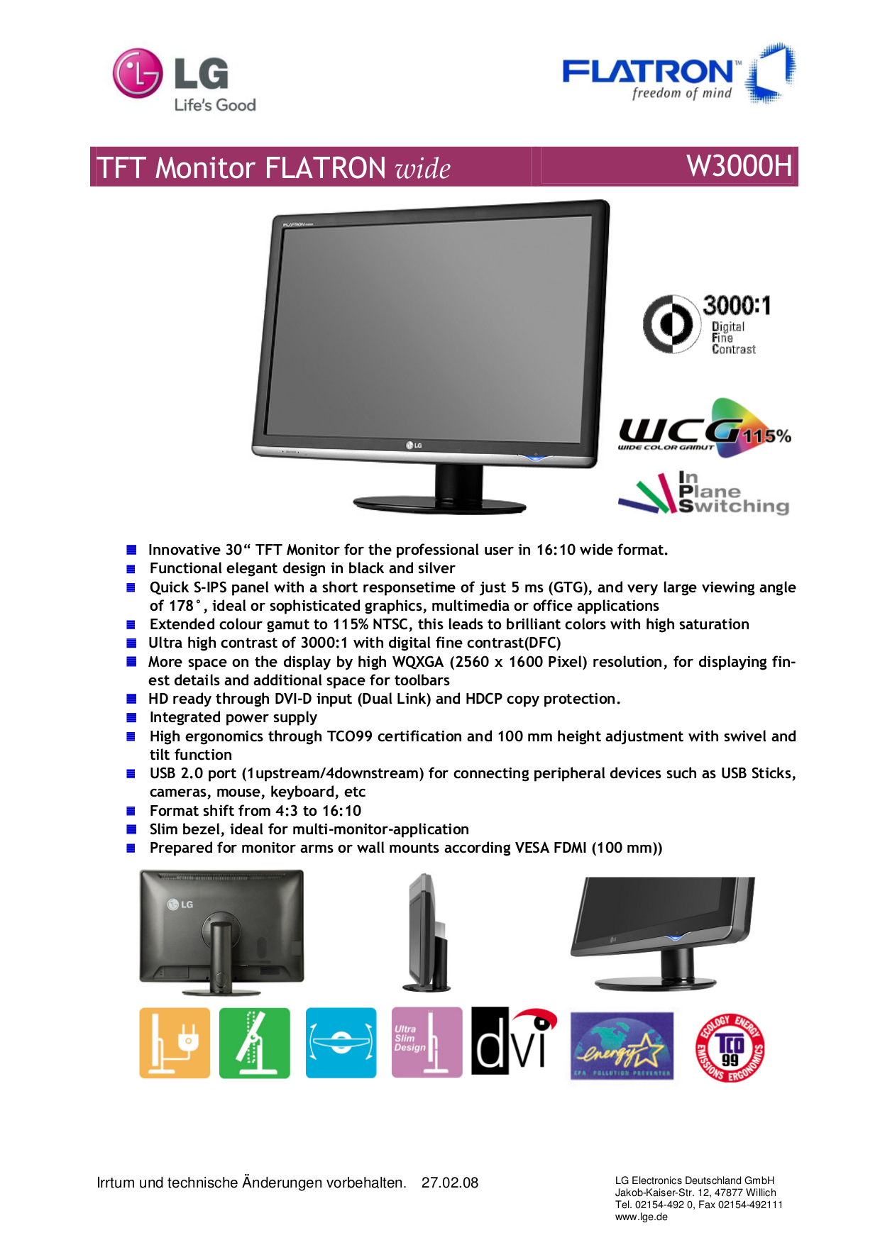 pdf for LG Monitor W3000H manual