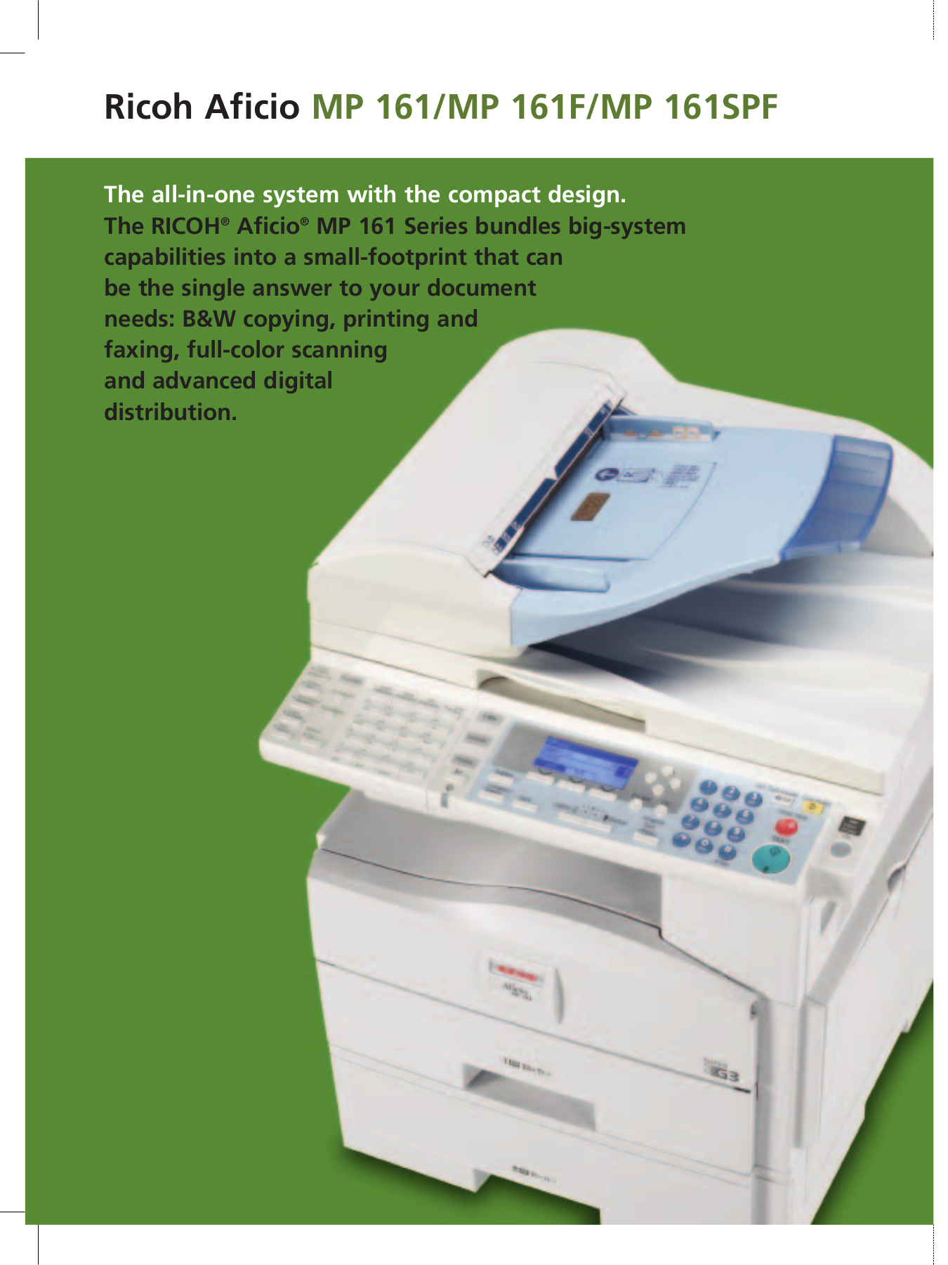 ... Ricoh Multifunction Printer Aficio MP161 pdf page preview ...