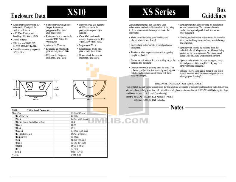 Audiovox Subwoofer XS12 pdf page preview