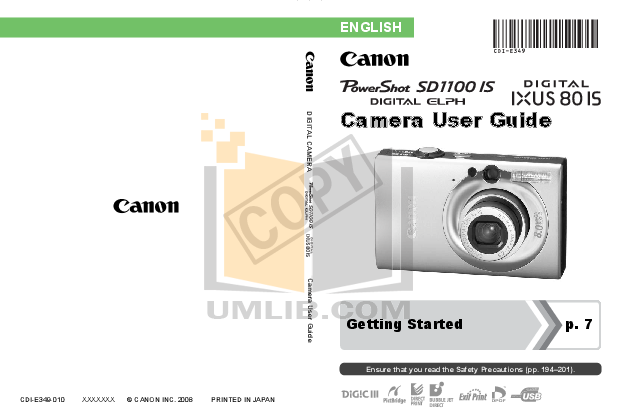 pdf for Canon Digital Camera IXUS 95 IS manual
