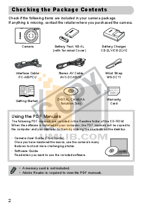 Canon Digital Camera IXUS 95 IS pdf page preview