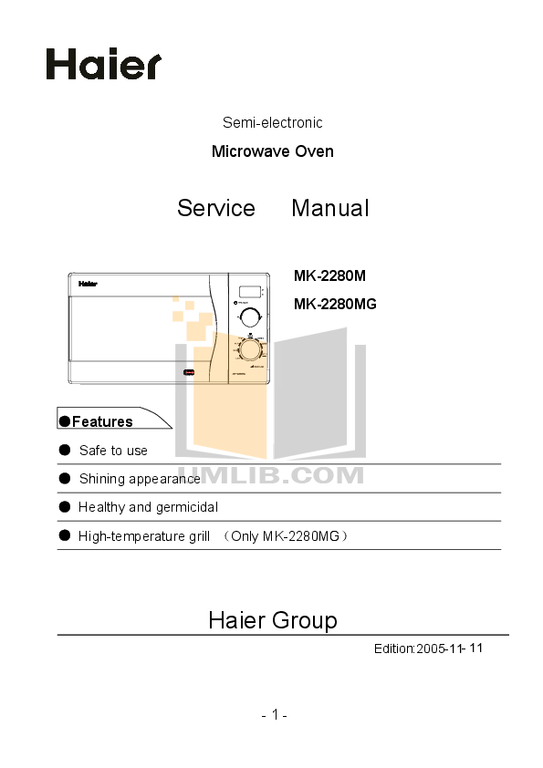 pdf for Haier Microwave MK-2280MG manual