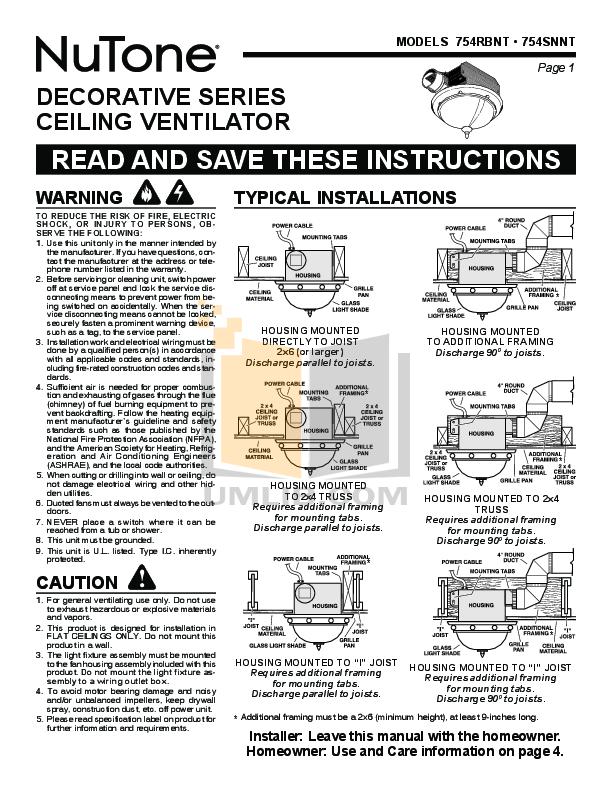 pdf for Broan-NuTone Other 754SNNT Ventilation Fans manual