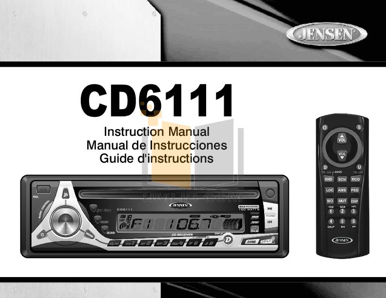 pdf for Audiovox Car Receiver CD6111 manual