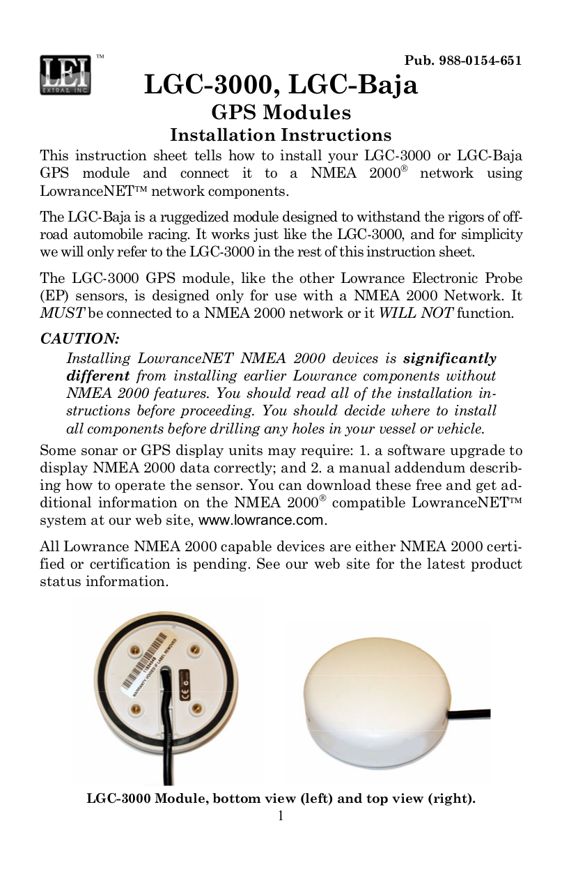 pdf for Lowrance GPS LGC-Baja manual