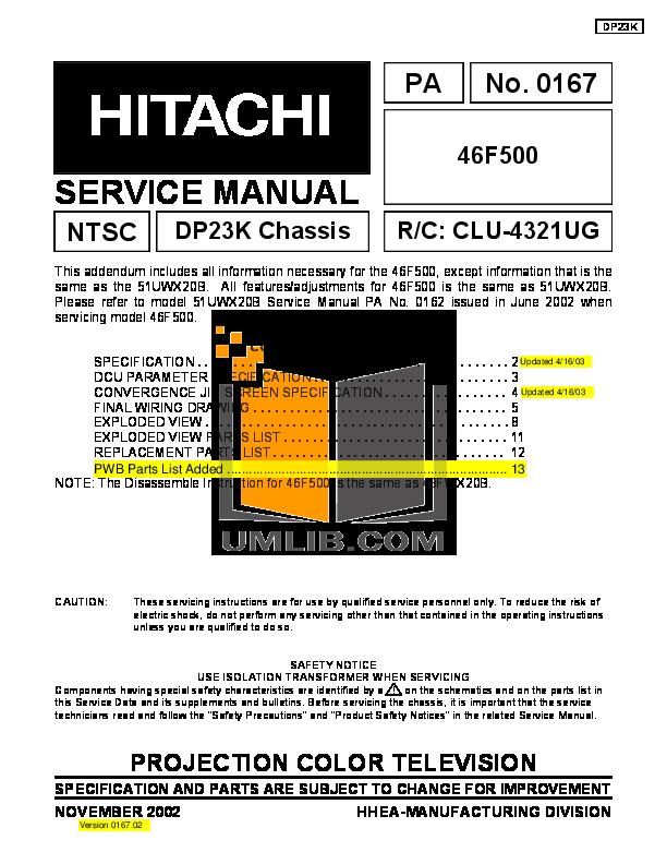 pdf for Hitachi TV 46F500A manual