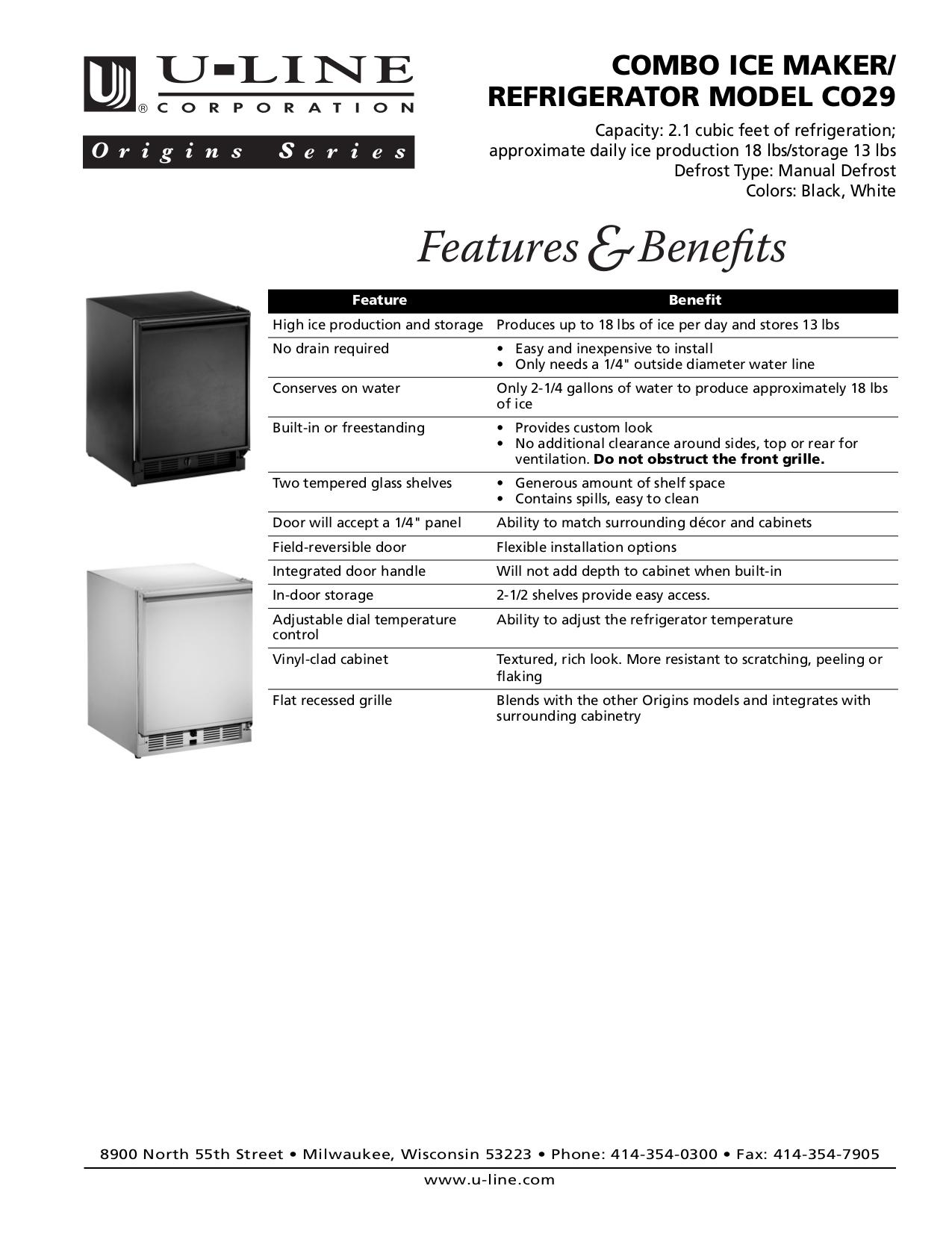 pdf for U-Line Refrigerator Origins CO29 manual