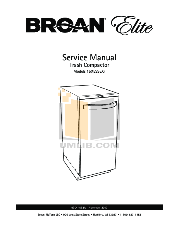 pdf for Broan-NuTone Other 1051L Trash Compactors manual