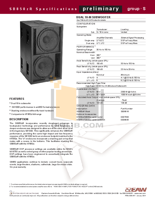 pdf for Eaw Speaker System SB850R manual