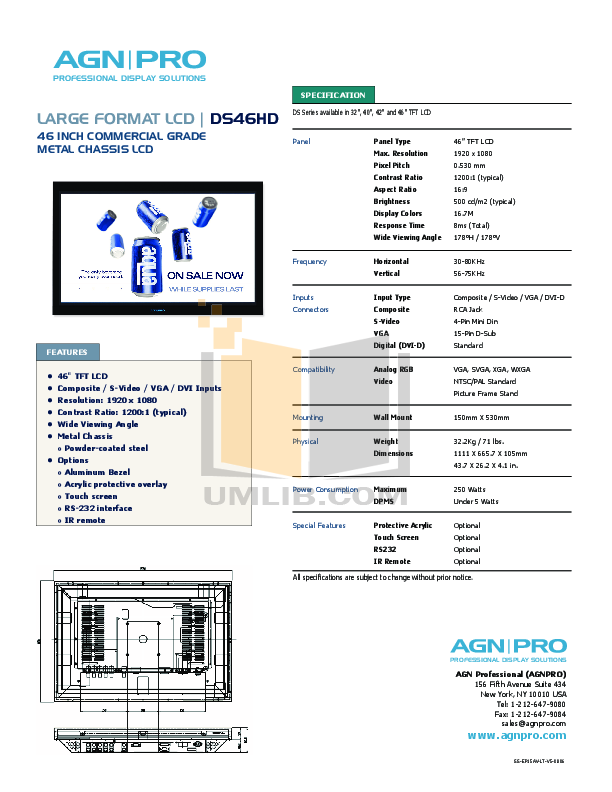 pdf for Agnpro Monitor DS-46HD manual