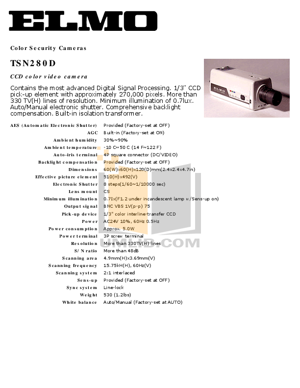 pdf for Elmo Security Camera TSN280D manual