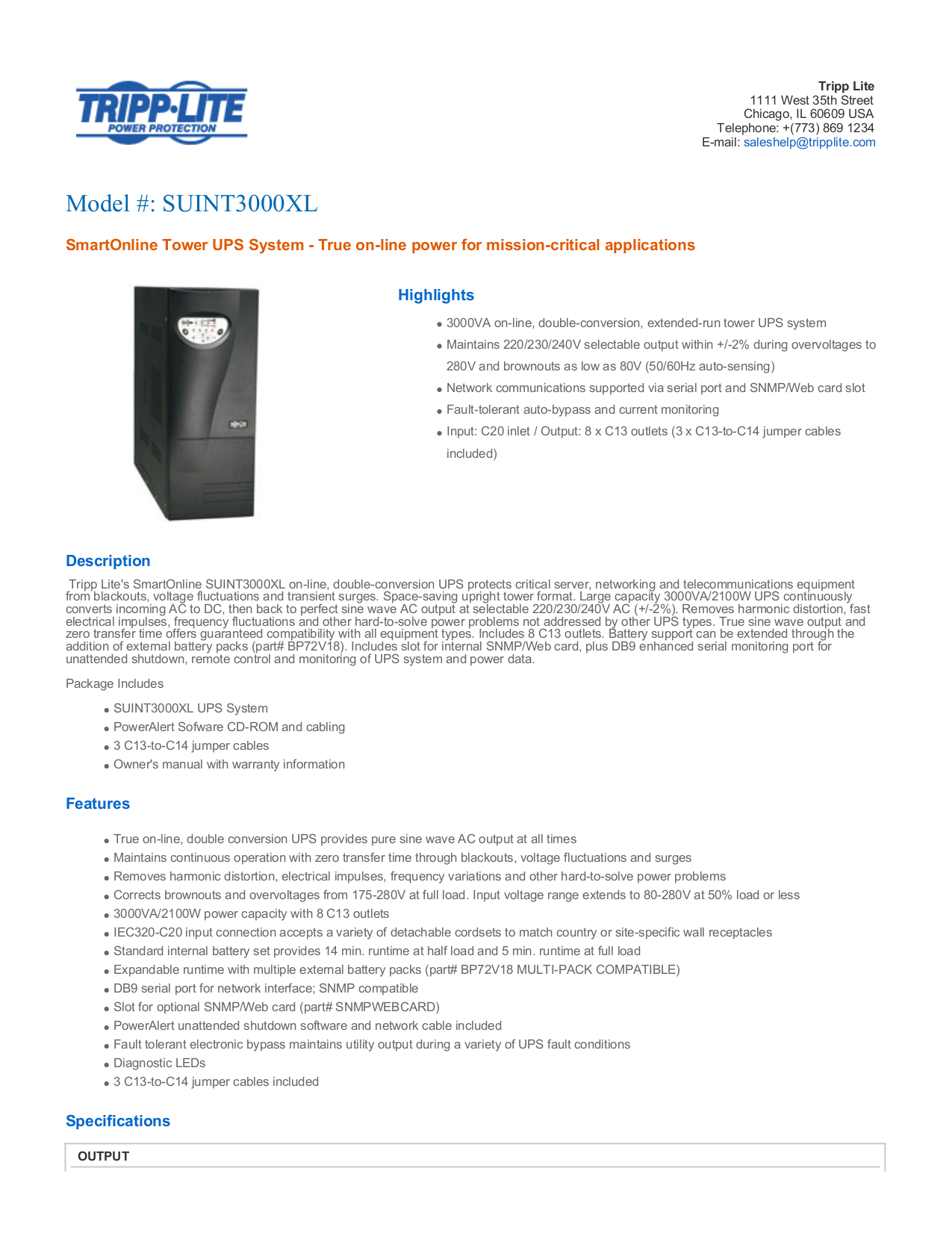 Download free pdf for Tripp SmartOnline SUINT3000XL UPS Systems