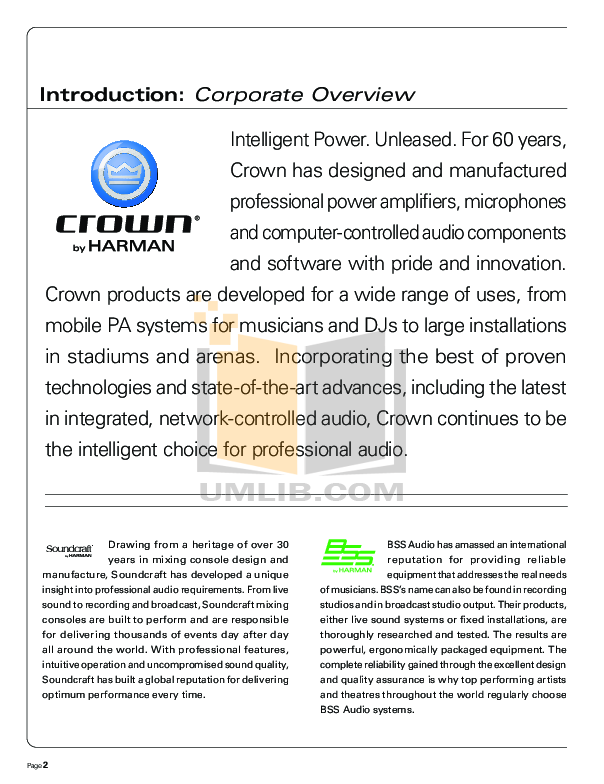 Crown Other IQ-MC4A IQ control modules pdf page preview