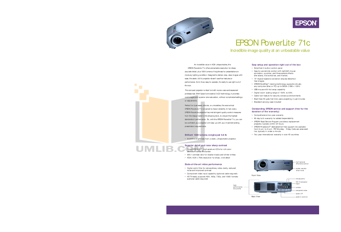 Epson Projector PowerLite 71c pdf page preview