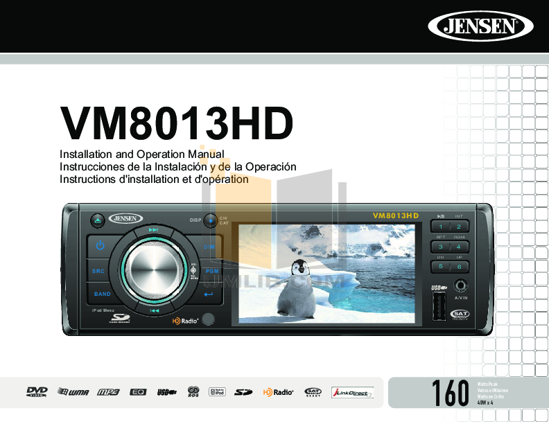 pdf for Audiovox Car Receiver VM8013HD manual