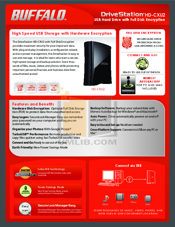 pdf for Buffalo Storage HD-CX1.5TU2 manual