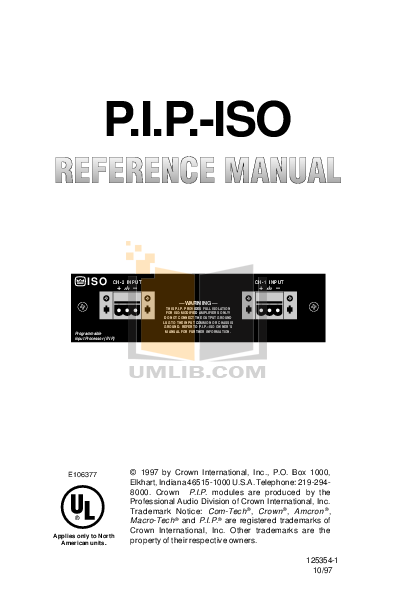 pdf for Crown Other PIP-ISO Input Processors manual