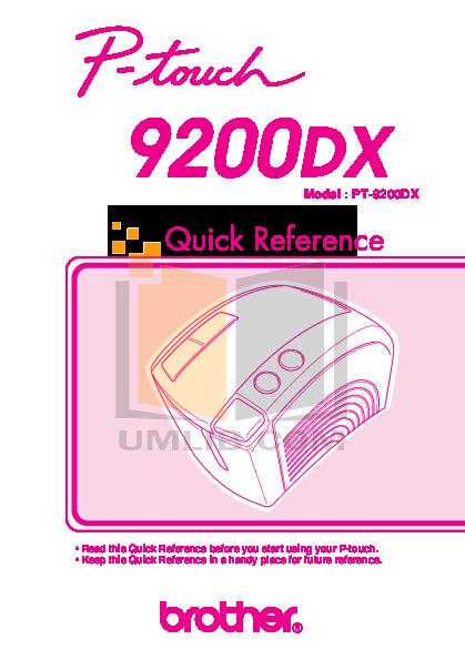 pdf for Brother Printer PT-9200DX manual