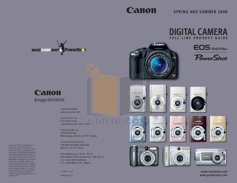 pdf for Canon Digital Camera Powershot A580 manual