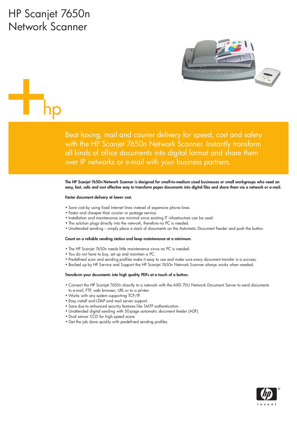Hp scanjet 7650 document flatbed scanner | hp® customer support.