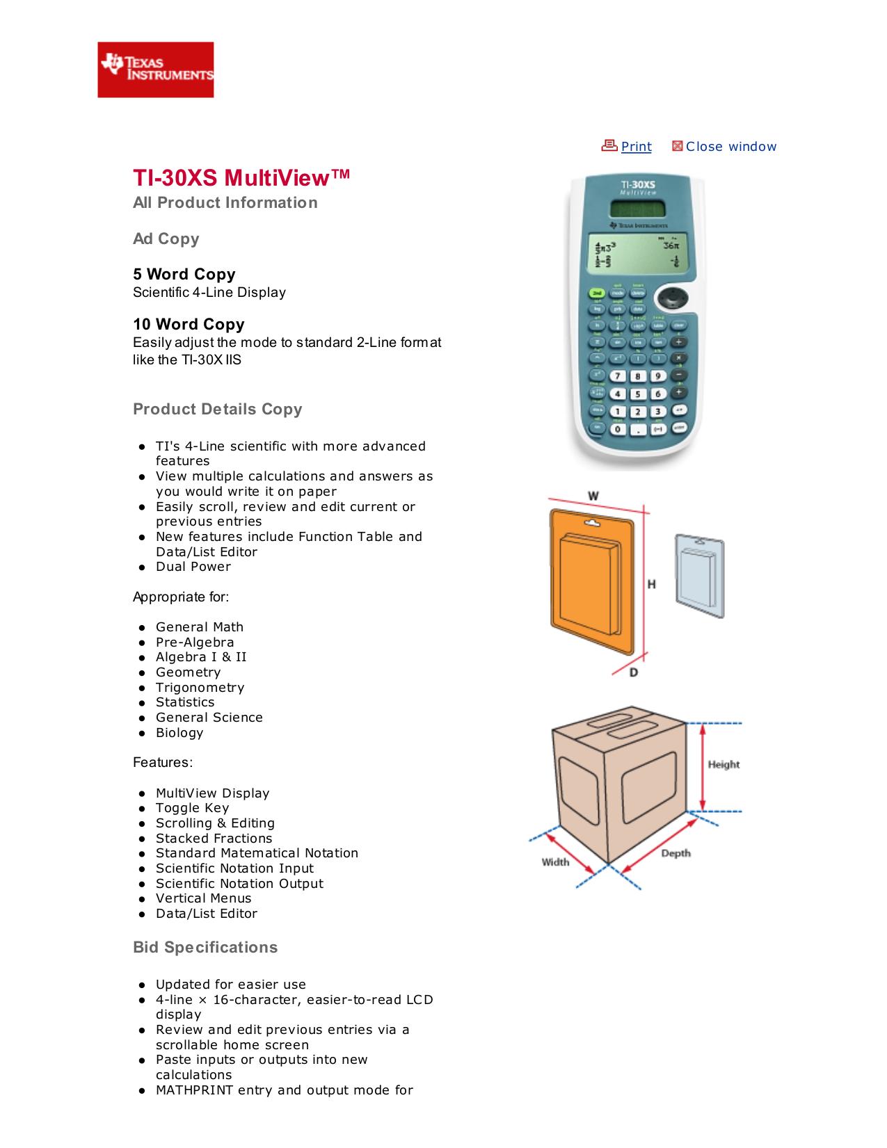 TI Calculator TI-30X IIS pdf page preview ...