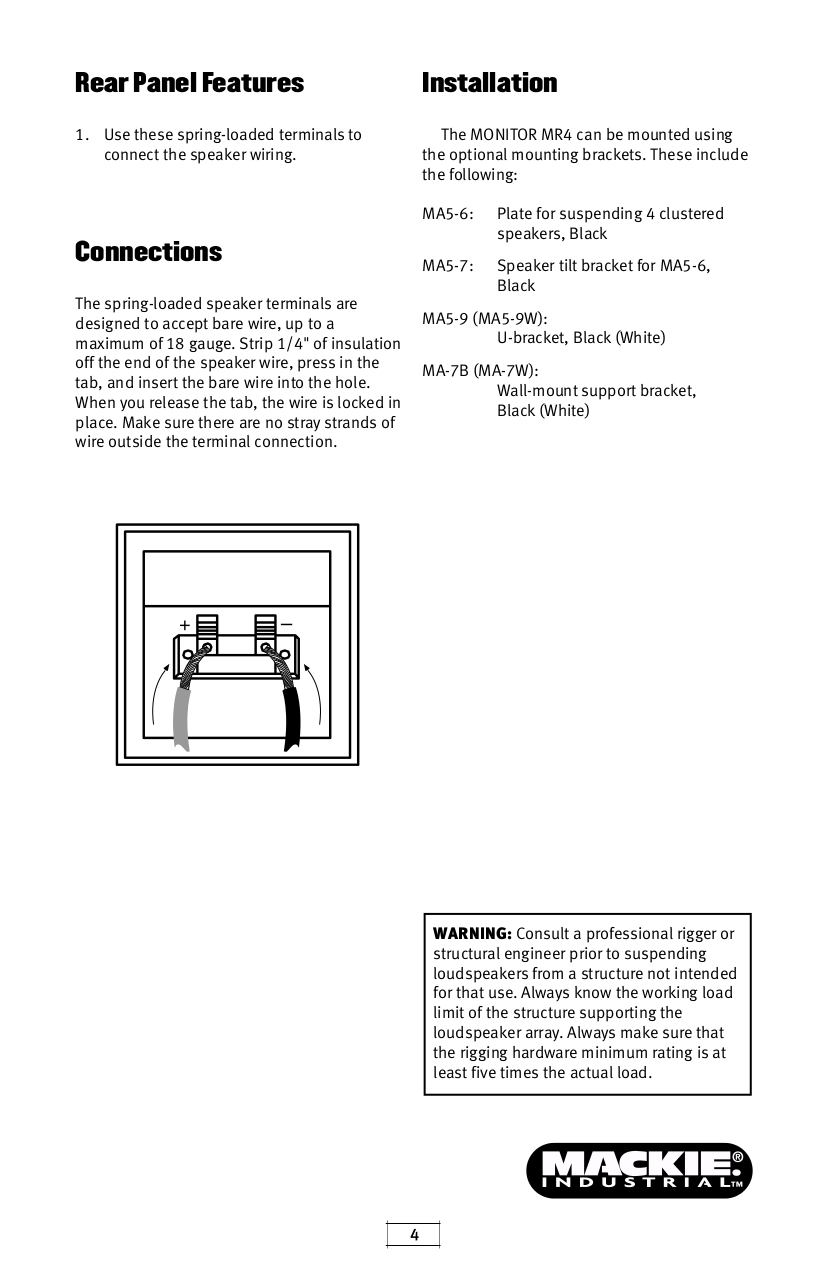 Pdf Manual For Mackie Speaker Monitor Series Mr4w Wiring Page Preview