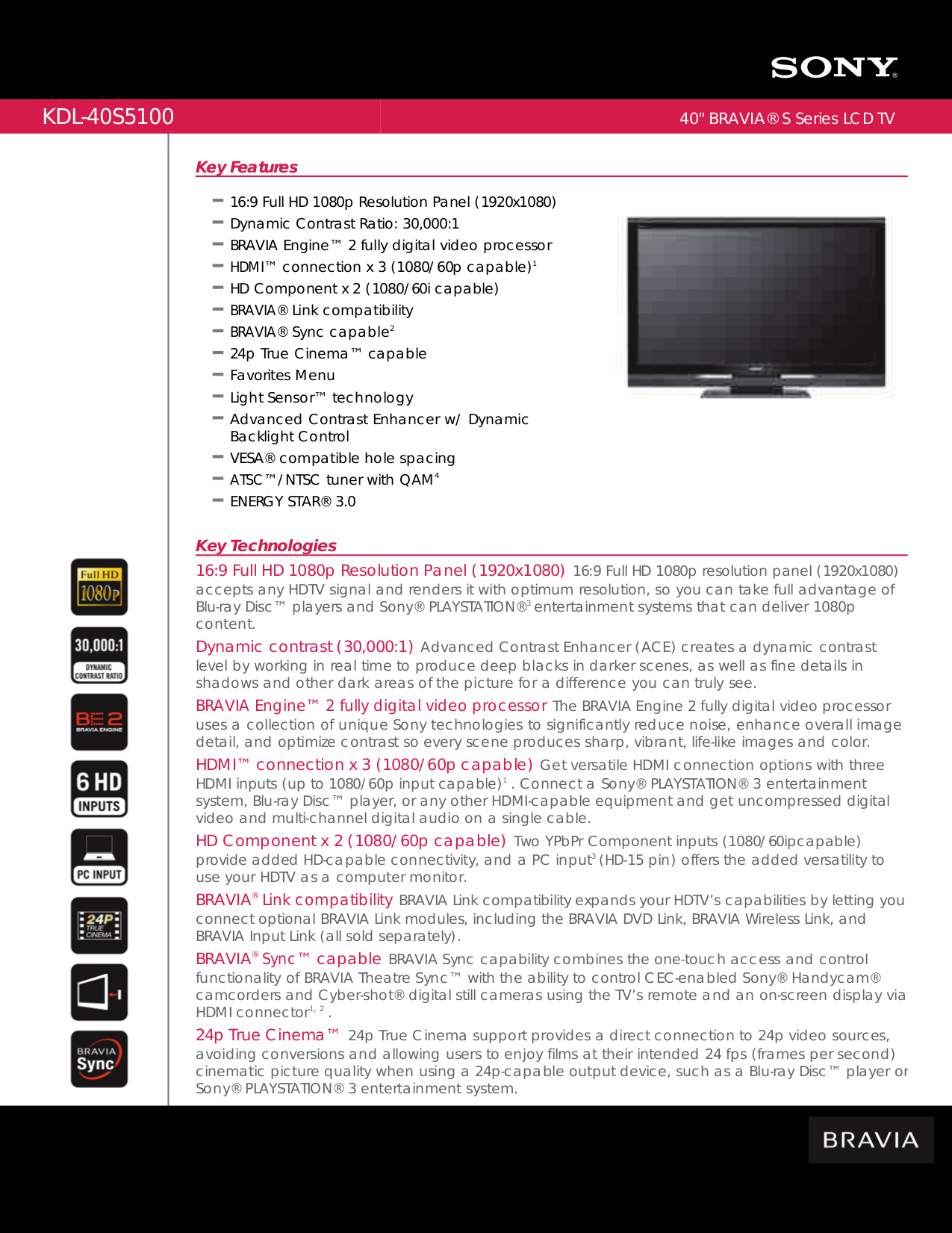 download free pdf for sony bravia kdl 40s5100 tv manual rh umlib com sony bravia 1080p manual Sony BRAVIA 40 1080P LCD TV
