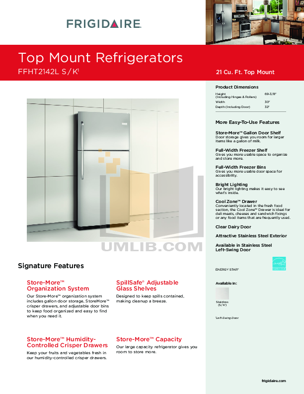 pdf for Frigidaire Refrigerator FFHT2142LS manual